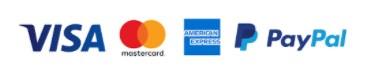 Logo Visa, Mastercard, American Express et Paypal pour indiquer les moyens de paiement sécurisés