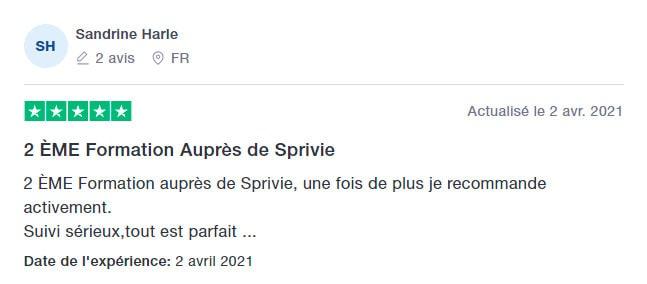 5* Avis Trustpilot de Sandrine Harle sur les formations en ligne aux métiers du bien-être de SpiriVie Formations