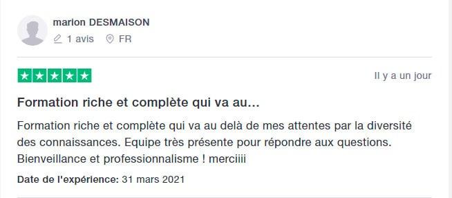 5* Avis Trustpilot de Marion Desmaison sur les formations en ligne aux métiers du bien-être de SpiriVie Formations